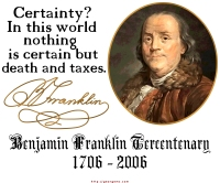 Benjamin Franklin Only things certain